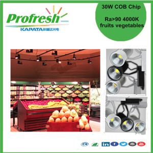 30W COB chip track light 4000k for fruits or vegetables display lighting green produce store supermarket