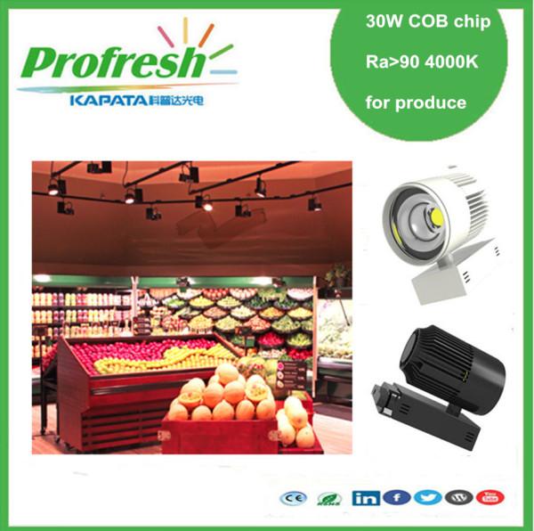 30 W COB luz de pista de chip Ra> 90 4000k para frutas o verduras pantalla iluminación verde producir tienda supermercado
