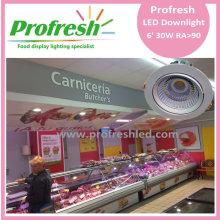 30 vatios COB chip 6 pulgadas Profresh luz de techo para iluminación de carne fresca led downlight