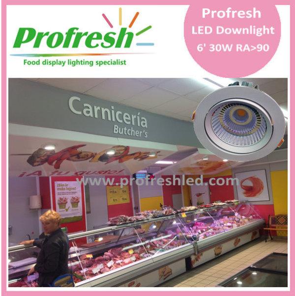 30 Watts COB chip 6 inch Profresh ceiling light for fresh meat lighting led downlight