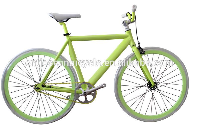 Aluminum Frame Singe Speed Green Color Road Bike