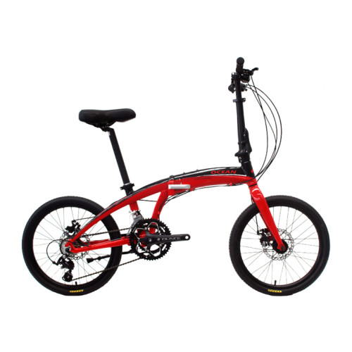 20 inch Alloy frame and alloy rigid fork 16 speed double disc brake folding bicycle