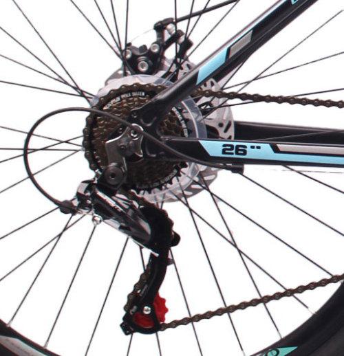 26英寸24速山地自行车铝合金车架铝合金可锁死避震前叉国产碟刹山地车