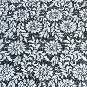 (June.2017) White and black embroidery fabric