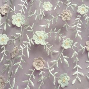 ( June.2017)3D flower pink sequin embelished tulle fabric