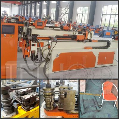Automatic Pipe rolling bending machine with push bend for big radius, Roll bending machines with 3 stacks