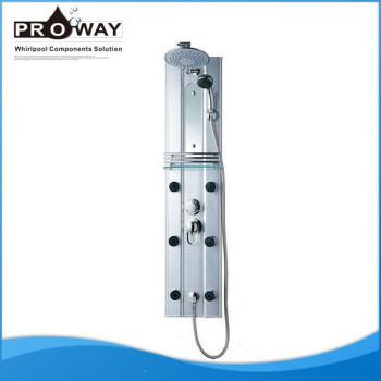 De aluminio de la aleación de seis hidráulico chorros de masaje Panel de ducha del baño