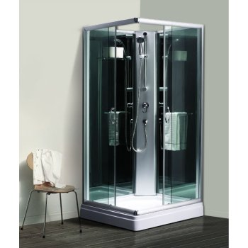 900 x 900 x 1950 mm negro cristal trasero Simple ducha para el hogar