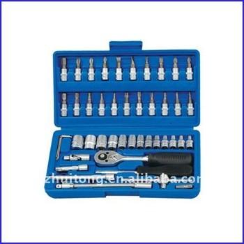 46-Piece 1/4 - pouces Standard et métrique Socket et Bit Socket Set avec coup de cas