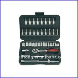38-Piece 1/4 - pouces Standard et métrique Socket et Bit Socket Set avec coup de cas