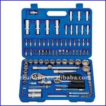 94-Piece 1/4 pouces et 1/2 pouces clé à douille métrique définie avec coup de cas