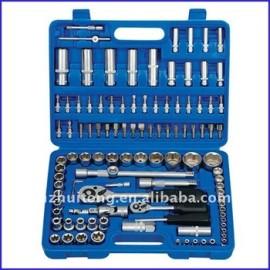 108-Piece 1/4 pouces et 1/2 pouces métrique outil de prise Kit avec coup de cas