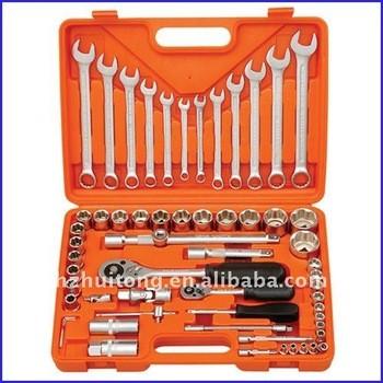 61-Piece 1/4 pouces et 1/2 pouces prise et Combination Wrench Set