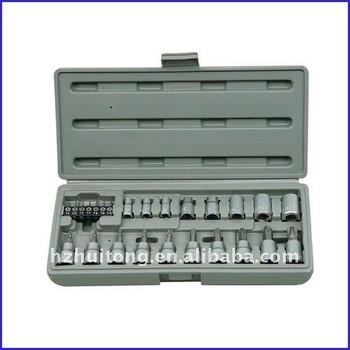 26-Piece 1/4 pouces, 3/8 - pouces métrique Socket et Bit Socket Set avec coup de cas