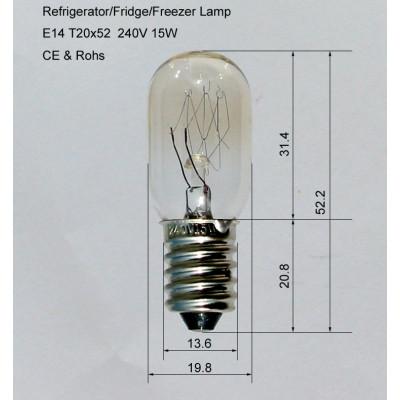 T20 15W E14 base fridge refrigerator freezer incandescent lamp bulb for replacement