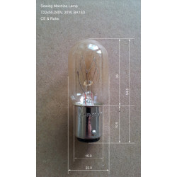 BA15D 20W Sewing Machine Lamp Bulb, Size T22x55