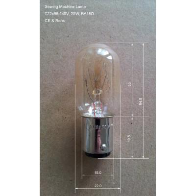 BA15D 20W Sewing Machine Lamp Bulb, Size T22x55