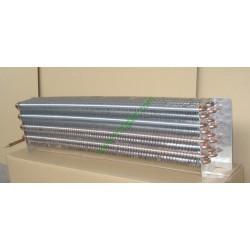 Copper tube fin evaporator coil for commercial merchandiser refrigeration