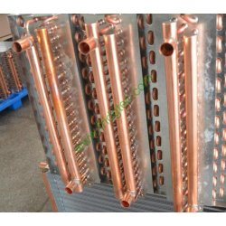 China made 24x24 Water to Air Heat Exchanger Hot Water Coil Outdoor Wood Furnace  1inch Copper Connections
