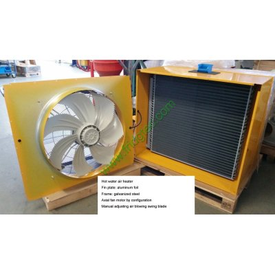 Water to air unit heater with integrated fan