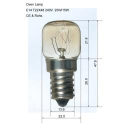 Screw Type  E14 15W 15 Watt 300ºC Oven Cooker Lamp Light Bulb