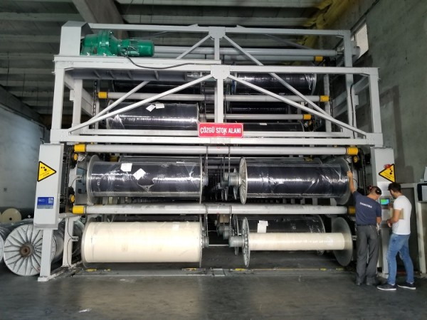 SUNTECH Computerized fabric batch roll Storage Stacker