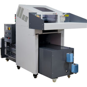 Industrial paper shredder with hydraulic baler combination