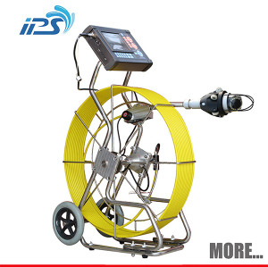 Push rod pipeline inspection camera with pan/tilt camera head