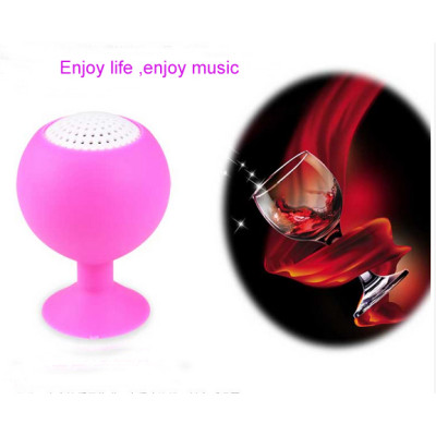 Wine Glass Shaped Mini Wired Silicon Speaker with Suction Cup