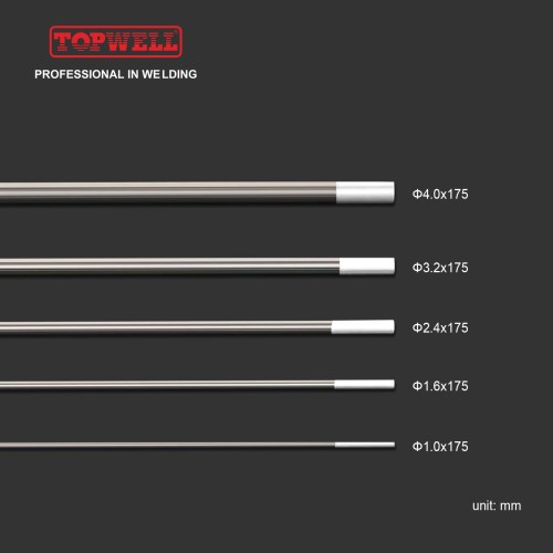 TIG焊接钨极0.8%氧化锆(白色,WZ8 / EWZr-8)10-pk