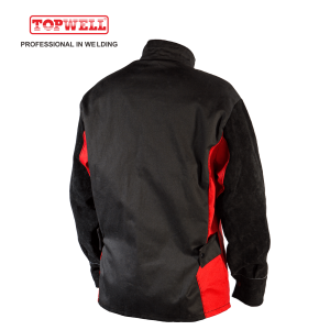 Heavy Duty Safety Protection Flame Resistant Natural Split cowhide leather Welding Jacket BK2102