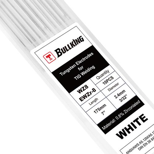 0.8% Zirconiated (White, WZ8/EWZr-8) Tungsten Electrode 10-pk