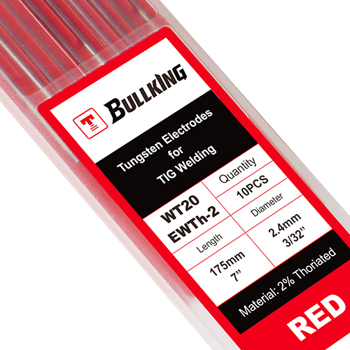 2% Thoriated (Red, WT20/ EWTh-2) Tungsten Electrode 10-pk