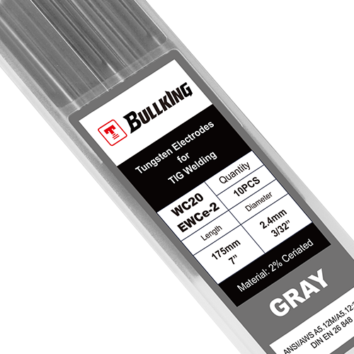2% Ceriated (Gray, WC20/EWCe-2) Tungsten Electrode 10-pk