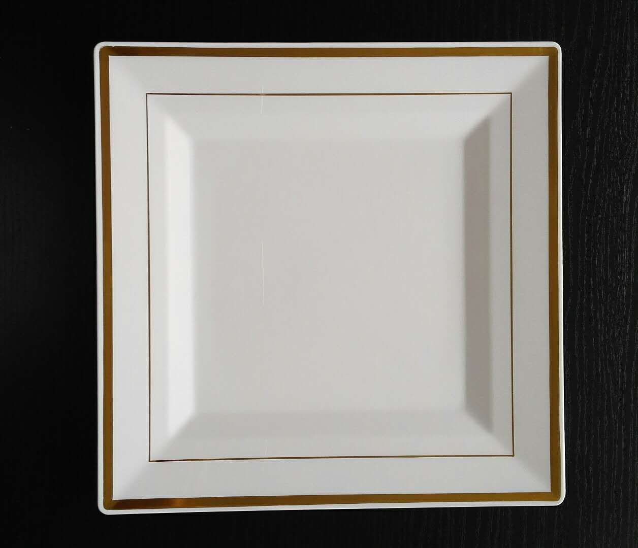 white gold plated square plate