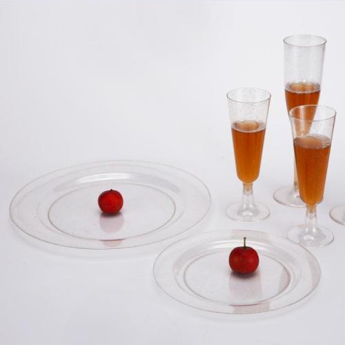 ゴールドグリッタープレミアム使い捨てプラスチックプレート10.25'GUANGHEによるディナープレート