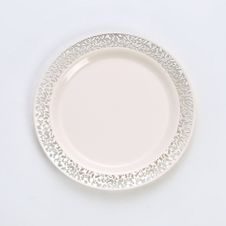 Hollow Out Bronzing Round Plate