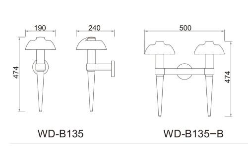 Wall lamp/mushroom head/  WD-B135 Cree/Bridgelux/Led module 6W/9W/12W wall mouted light custom outdoor lights modern design