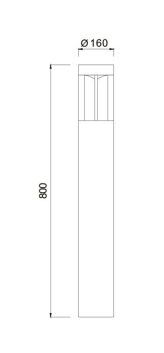 Bollard light φ160*H800mm Cylinder fashional concise modern design custom outdoor lights suitable for projects WD-C243
