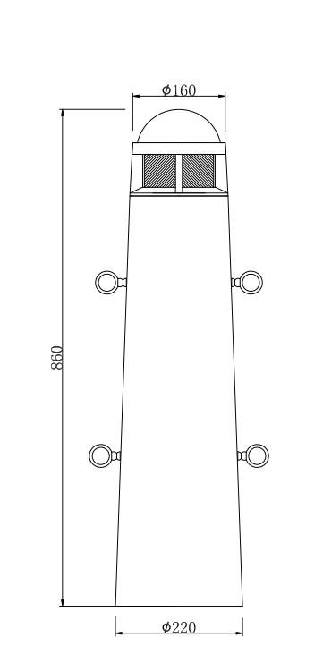 Lawn lamp bollard light cylinder φ160*H860mm round head  LED Module 6W/9W/12W COB LED 10W/20W CFL E27 16W WD-C292
