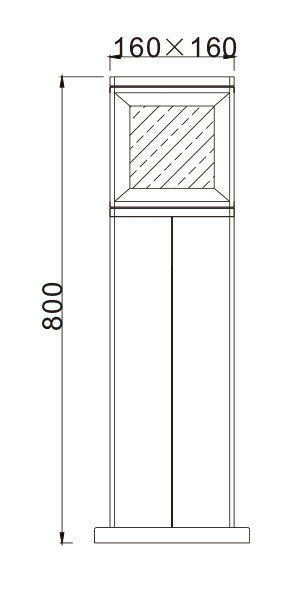 TFB Lawn lamp bollard light modern concise design exterior flange W160*L160*H800mm LED bridgelux Cree Meanwell driver WD-C139