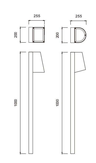 Lawn lamp bollard light with cap modern design W200*L255*H1000 LED module 3W/6W/9W COB LED 5W/10W WD-C086-A/WD-C086-B