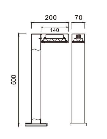 Lawn lamp bollard light modern concise design W70*L200H500mm LED module 6W/9W/12W aluminum+tempered glass WD-C294