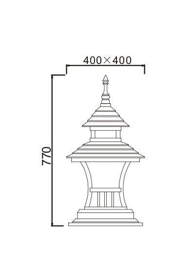 Lawn lamp bollard light luminaire W400*H400*H770mm Japanese classic retro style villa aluminum/stainless steel SMD LED 3*8W CFL E27 23W/36W T5 3*14W  aluminum/high-grade preservative wood tempered glass WD-C307