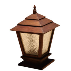 Lawn lamp bollard light luminaire W300*H300*H720mm Japanese classic retro style villa aluminum/stainless steel SMD LED module 5W/10W/15W CFL E27 16W/18W/23W aluminum/high-grade preservative wood  WD-C306