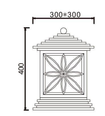 Lawn lamp bollard light luminaire W300*H300*H400mm Japanese classic retro style villa aluminum/stainless steel aluminum/high-grade preservative wood PMMA WD-C215