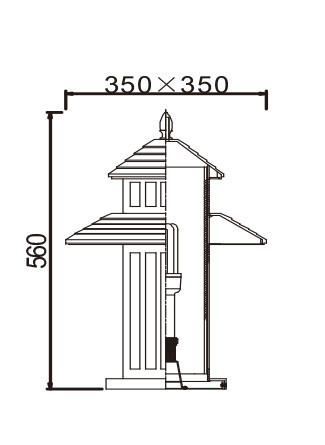 Lawn lamp bollard light luminaire W350*H350*H560mm Japanese classic retro style villa aluminum/stainless steel SMD LED 3*8W CFL E27 23W/36W T5 3*14W imitation marble/PMMA WD-C281