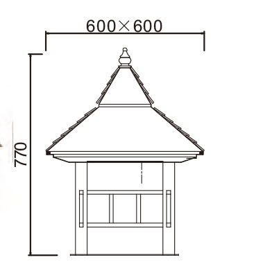 Lawn lamp bollard light luminaire W600*H600*H770mm Japanese classic retro style villa aluminum/stainless steel SMD LED 3*8W CFL E27 23W/36W T5 3*14W imitation marble/PMMA WD-C304