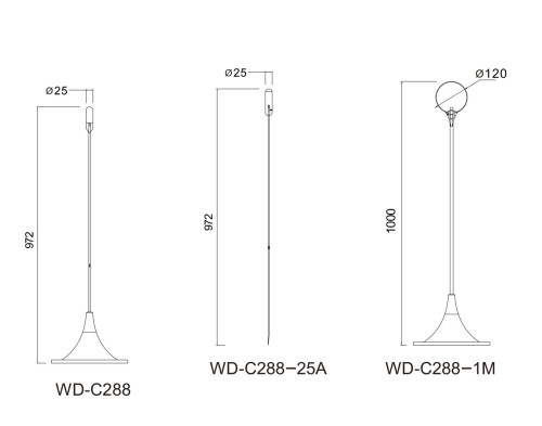 Lawn lamp Flower light LED Pin lamp 1~3W D28*H972 extruded galss PMMA Stainless steel ball light WD-C288