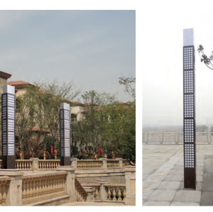 Landscape light grating decoration bollard lihgt W280*L280*H3000mm classice style cuboid